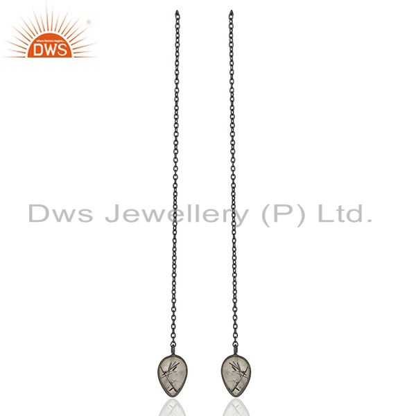 Black Rutile Gemstone Black Sterling Silver Chain Earring Manufacturer