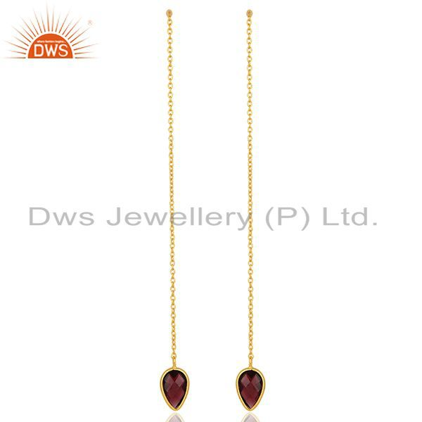 Natural Garnet Gemstone Solid 925 Silver Gold Plated Chain Earrings