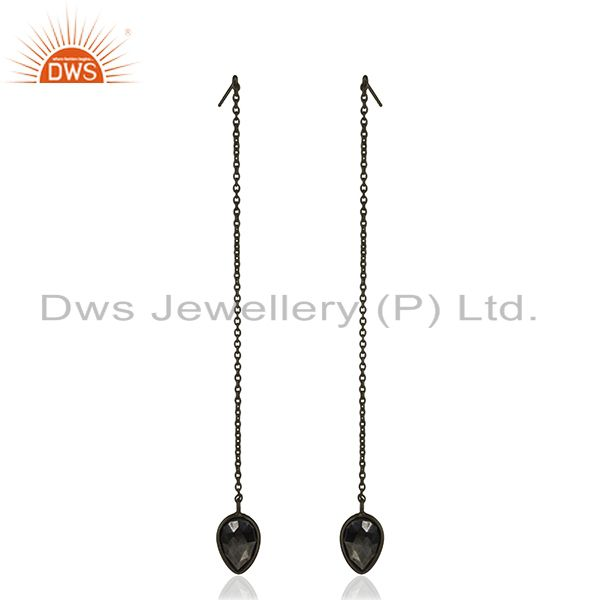 Hematite Gemstone 925 Silver Black Rhodium Plated Chain Earrings Wholesale