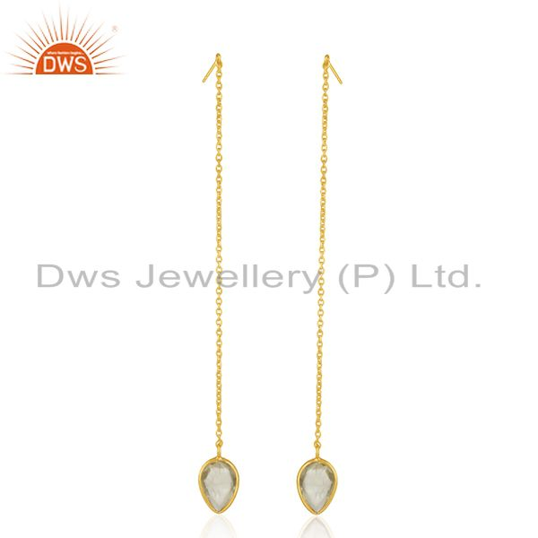 Gold Plated Sterling Silver Lemon Topaz Gemstone Chain Earrings Manufacturer