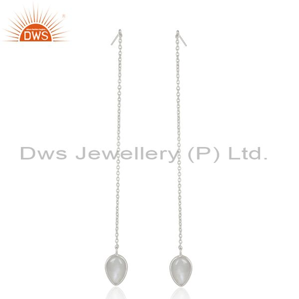 Gray Moonstone Fine Sterling Silver Chain Dangle Earrings Manufacturer India