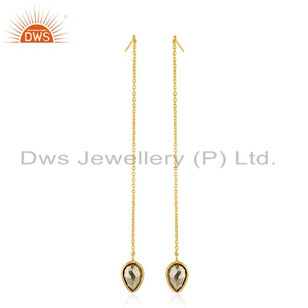 Pyrite Gemstone 925 Silver Gold Plated Chain Earrings Jewelry Manufacturer