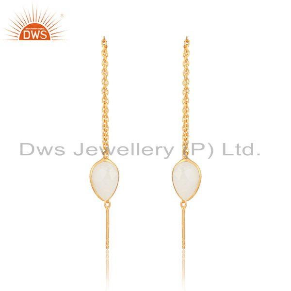 Designer chain dangle in yellow gold on silver rainbow moonstone
