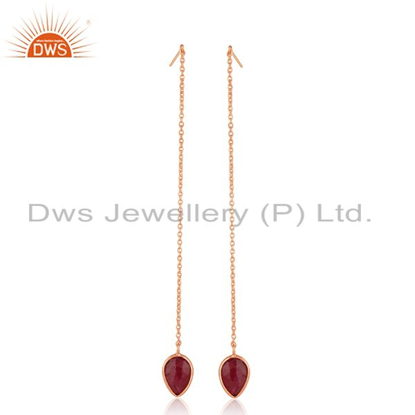 Corundum Ruby Gemstone Rose Gold Plated 925 Silver Earrings Wholesale India