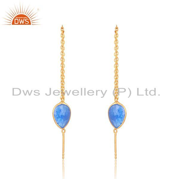 Designer Chain Dangle in Yellow Gold on Silver Blue Aventurine