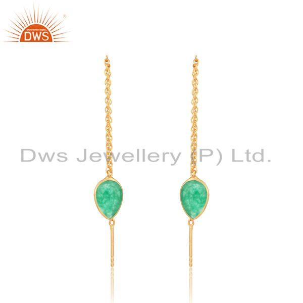 Designer Chain Dangle in Yellow Gold on Silver Green Aventurine