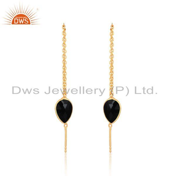Designer chain dangle in yellow gold on silver black onyx