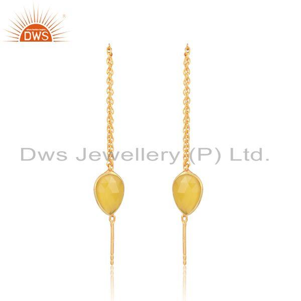 Designer chain dangle in yellow gold on silver yellow chalcedony