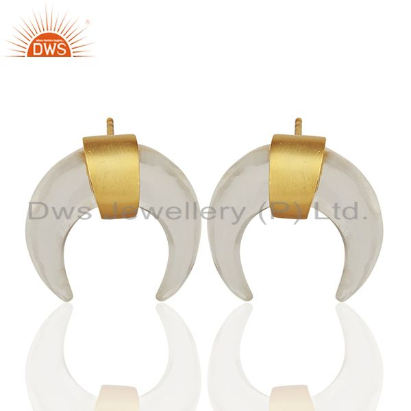 Crystal Quartz Crescent Moon 925 Sterling Silver 18k Gold Plated Studs Earring