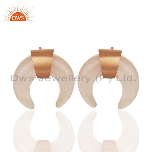Rose Quartz Crescent Moon 925 Sterling Silver Rose Gold Plated Studs Earring