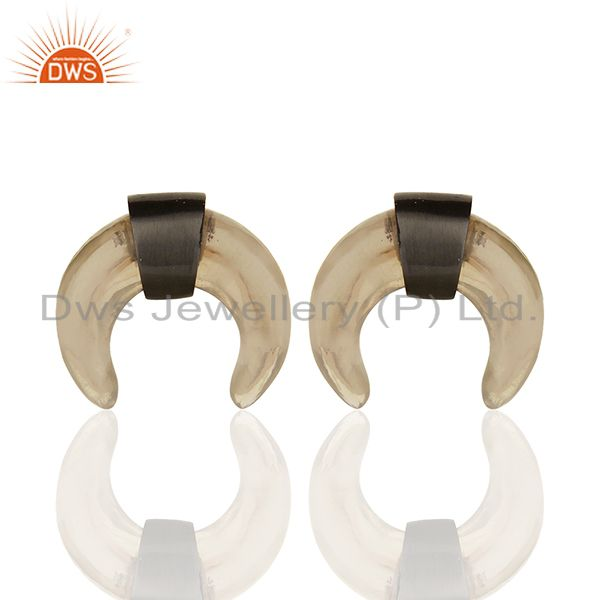 Smoky Topaz Crescent Moon Sterling Silver Black Rhodium Plated Studs Earring