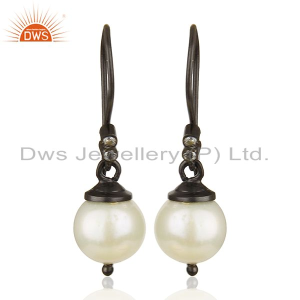 Round White Pearl Black 925 Sterling Silver Drop Earrings Wholesale
