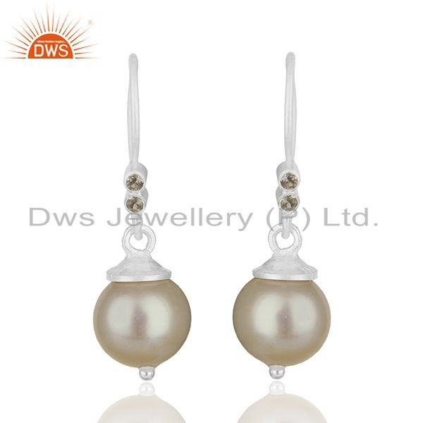White Topaz and Pearl Gemstone 925 Silver Drop Earrings Manufacturer