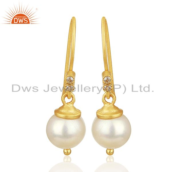 Natural Pearl Gemstone 925 Silver Gold Plated Girls Drop Earrings