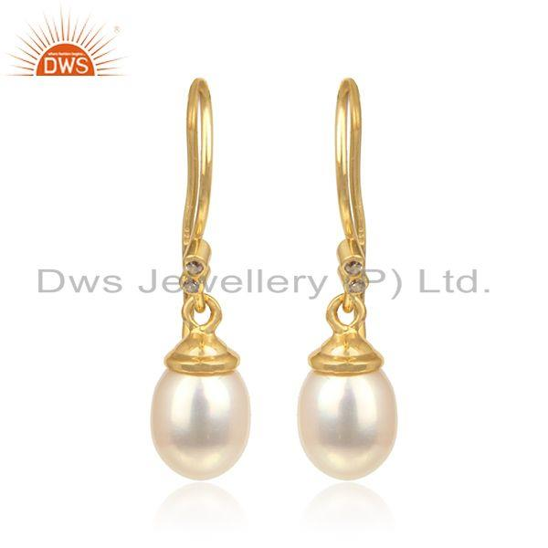Handcrafted Exuisite Designer Pearl Dangle in Yellow Gold on Silver