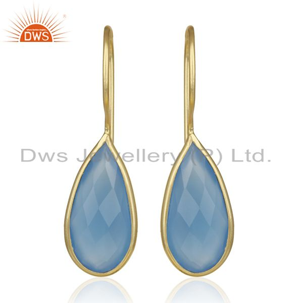 Gold Plated Silver Gemstone Earrings Jewelry Manufacturer for Designers India