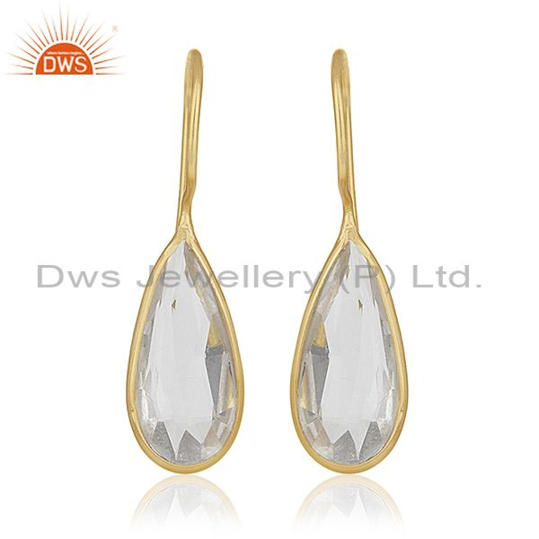 Gold Plated Sterling Silver Crystal Drop Earrings Wholesale Supplier of Jewelry