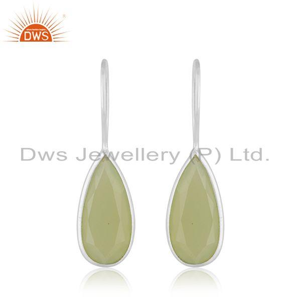 Prehnite Chalcedony Gemstone Fine Sterling Silver Drop Earrings Manufacturer