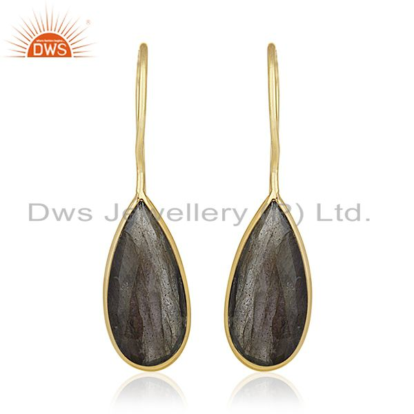 Labradorite Gemstone 925 Silver Gold Plated Earrings Manufacturer of Jewelry