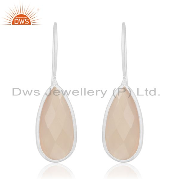 Fine Sterling Silver Rose Chalcedony Gemstone Dangle Earring Manufacturers