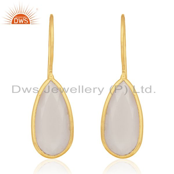 Rose Chalcedony Gemstone Gold Plated 925 Silver Dangle Earring Manufacturer