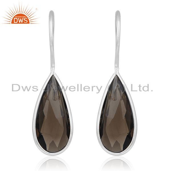 Bezel Set Smoky Quartz Gemstone 925 Fine Silver Earring Manufacturers