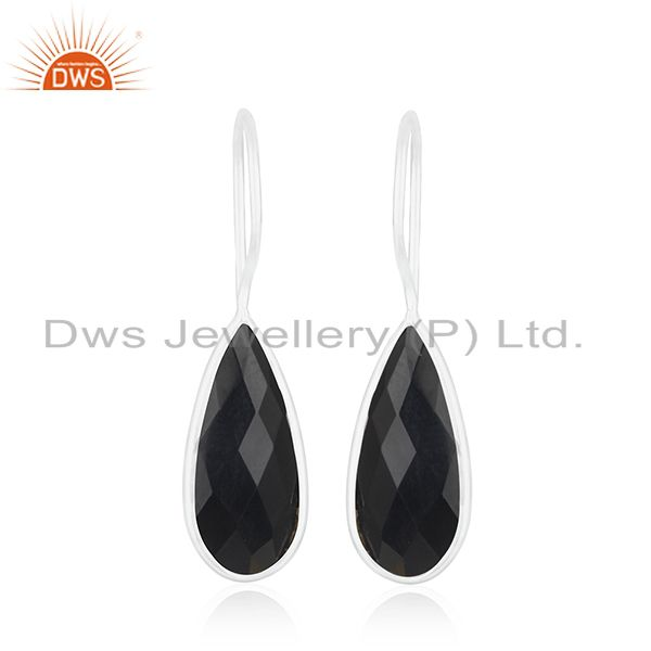 Black Onyx Gemstone 925 Sterling Fine Silver Handmade Earring Jewelry Wholesale