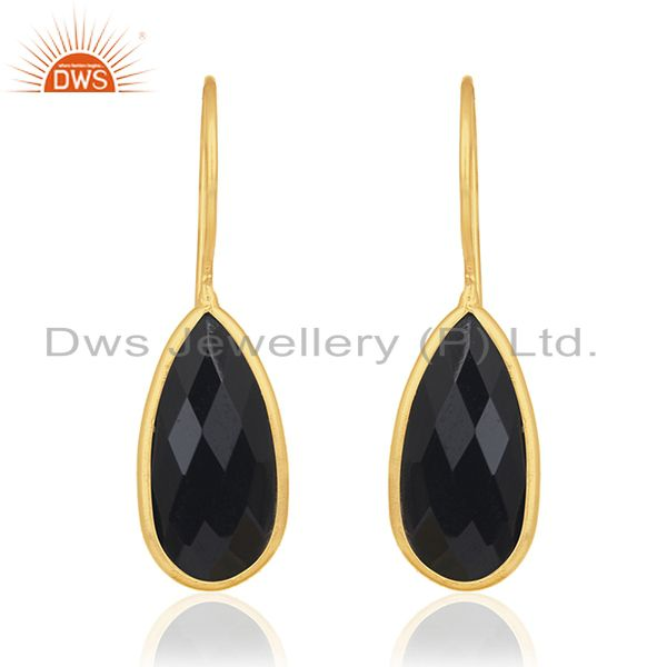 Black Onyx Gemstone 925 Sterling Silver Gold Plated Earring Manufacturer Jewelry