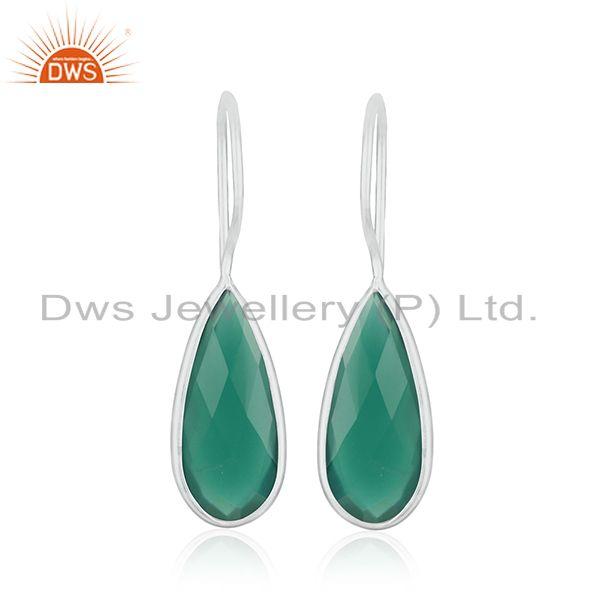 Green Onyx Gemstone 925 Sterling Fine Silver Dangle Earring Manufacturers