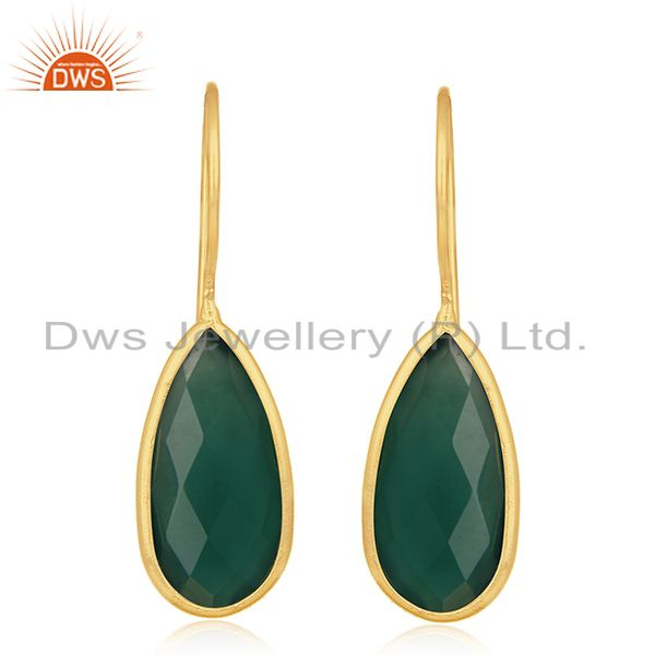 Handmade Gold Plated 925 Silver Green Onyx Gemstone Earrings Wholesale