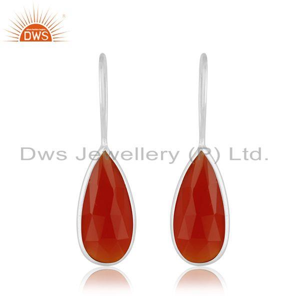 Red Onyx Gemstone Fine Sterling Silver Drop Earrings Manufacturer Jaipur
