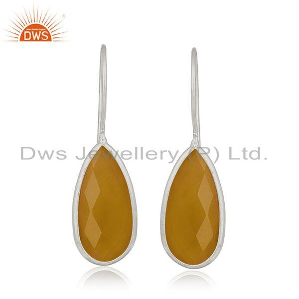Wholesale Sterling Silver Yellow Chalcedony Gemstone Earring Jewelry