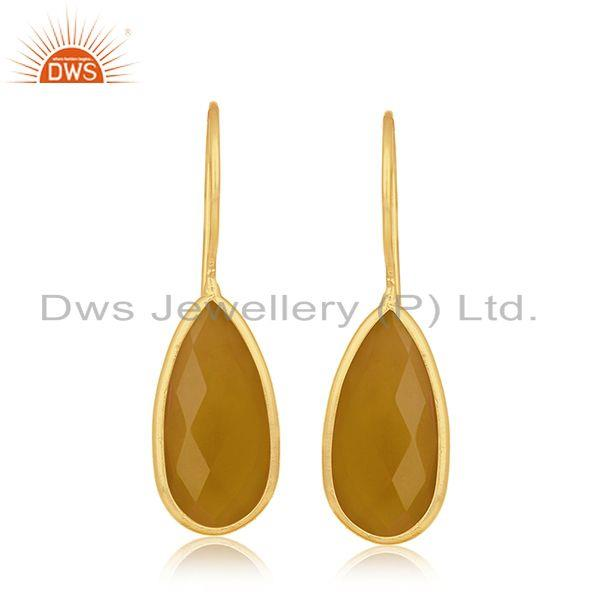 Yellow Chalcedony Silver Gold Plated Earring Jewelry
