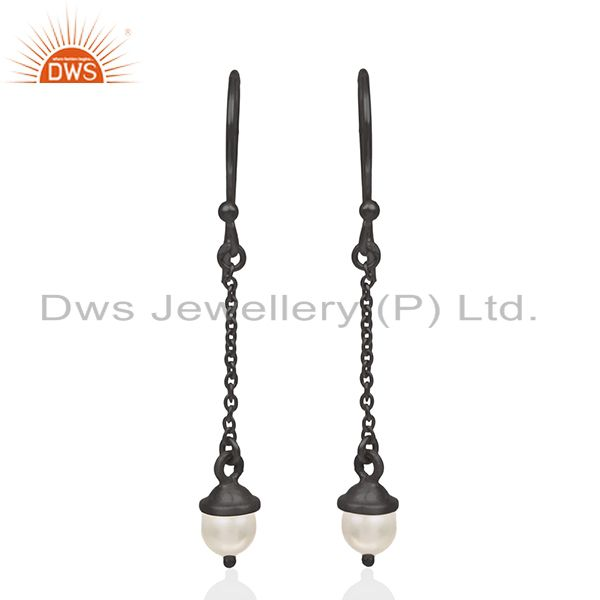 Black Rhodium Plated 925 Silver Pearl Dangle Earrings Manufacturer Jaipur India