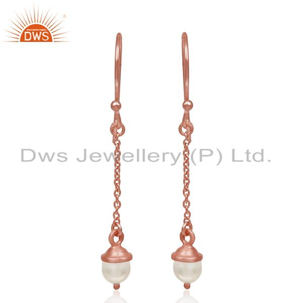 Rose Gold Plated 925 Silver Natural Pearl Designer Earrings Manufacturer India
