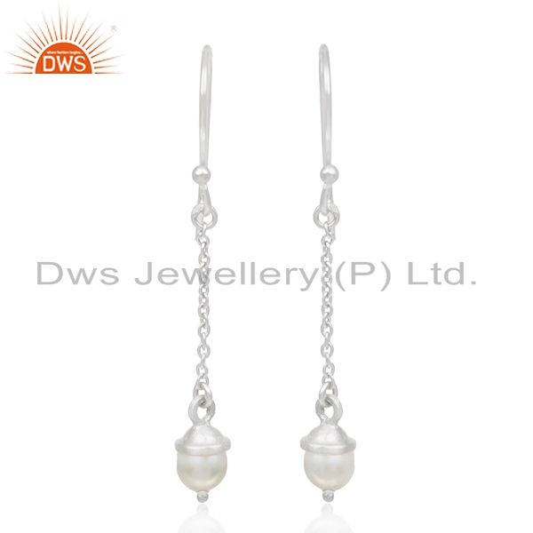 Sterling 92.5 Silver Natural Pearl Handmade Chain Earrings Manufacturer