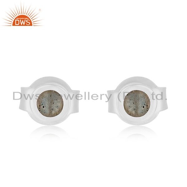 Handmade 92.5 Sterling Silver Natural Labradorite Gemstone Stud Earring Supplier