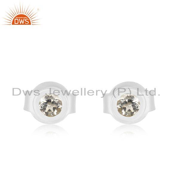 Handmade 925 Sterling Fine Silver White Topaz Round Stud Earrings Wholesale