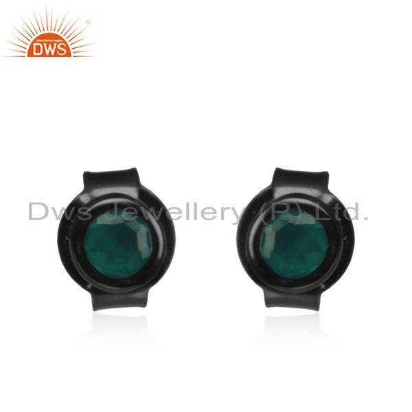 Handmade 925 Black Silver Green Onyx Gemstone Round Stud Earrings Manufacturer