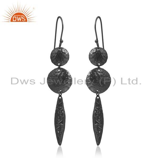 Handmade 925 Silver Black Rhodium Plated Earrings Manufacturer Jaipur India