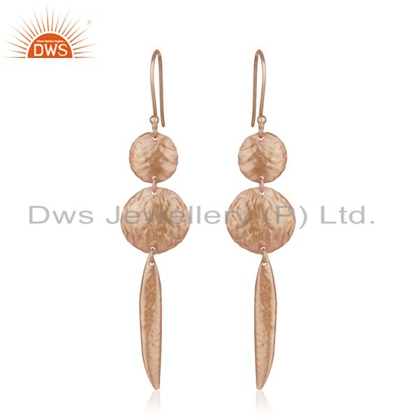 Handmade Rose Gold Plated 925 Sterling Silver Designer Earrings Manufacturer