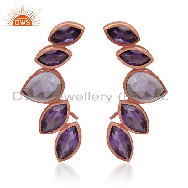 Amethyst Gemstone Rose Gold Plated Sterling Silver Cuff Earrings Manufacturer