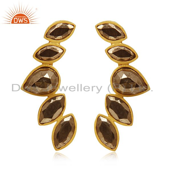 Gold Plated 925 Silver Pyrite Gemstone Dangle Earrings Manufacturer India