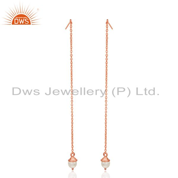 Rose Gold Plated Sterling Silver Pearl Designer Earrings Manufacturer India