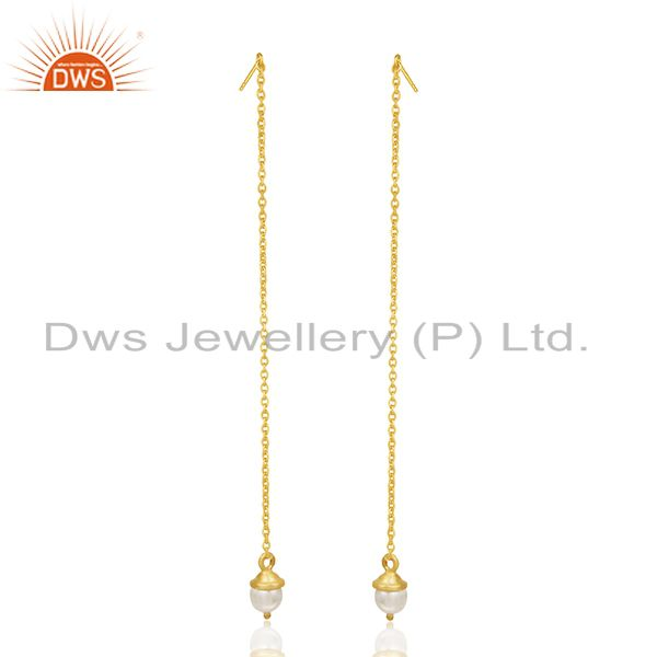 Natural Pearl Gold Plated Sterling Silver Designer Chain Earrings Manufacturer