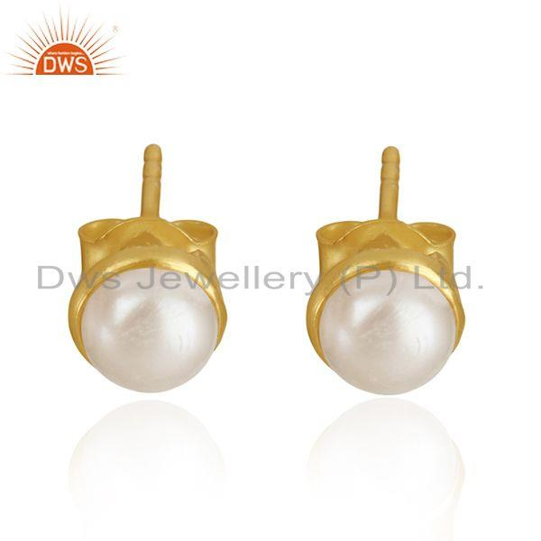 Natural Pearl Gold Plated 92.5 Sterling Silver Round Stud Earrings Manufacturer