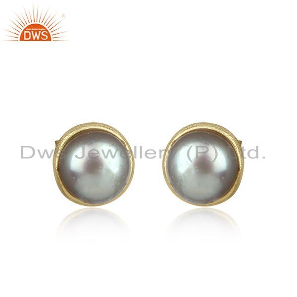 Handcrafted Dainty Gray Pearl Studs in Yellow Gold on Silver 925