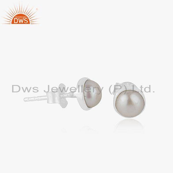 Natural Pearl Gemstone Fine Silver Tinny Stud Earrings Jewelry