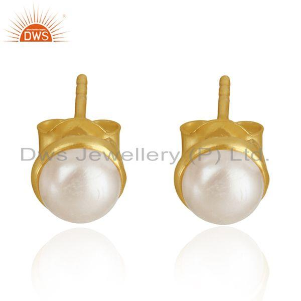 18k Gold Plated 925 Sterling Silver Natural Pearl Round Stud Earrings Supplier