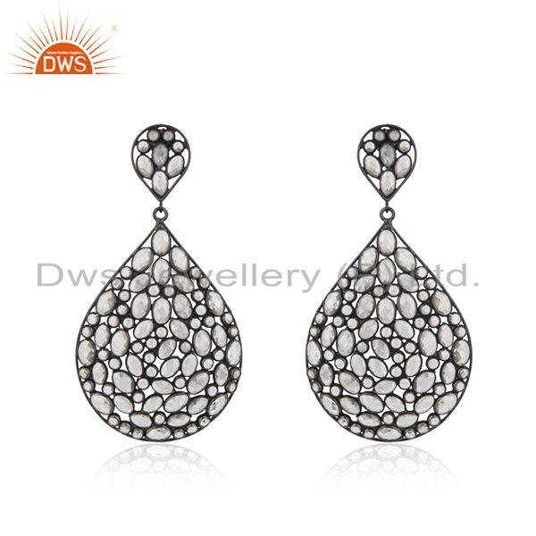 White Zircon Gemstone Rhodium Plated Silver Wedding Earring Jewelry